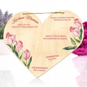 drewniana tabliczka serce z nadrukiem