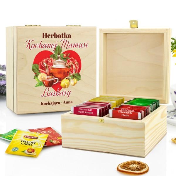 drewniane pudełko z nadrukiem na herbatę na prezent dla mamy