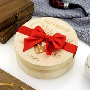pomysł na prezent dla mamy, grawerowane pudełko z łuby