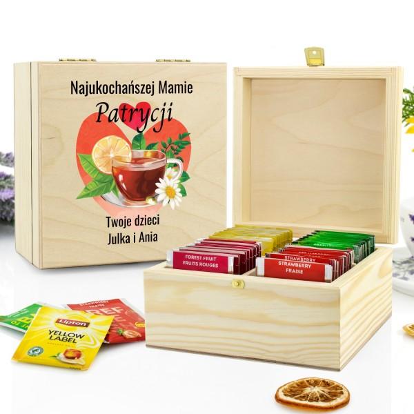pudełko drewniane z zestawem herbat na prezent dla mamy