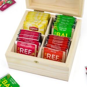 zestaw herbat w skrzynce drewnianej