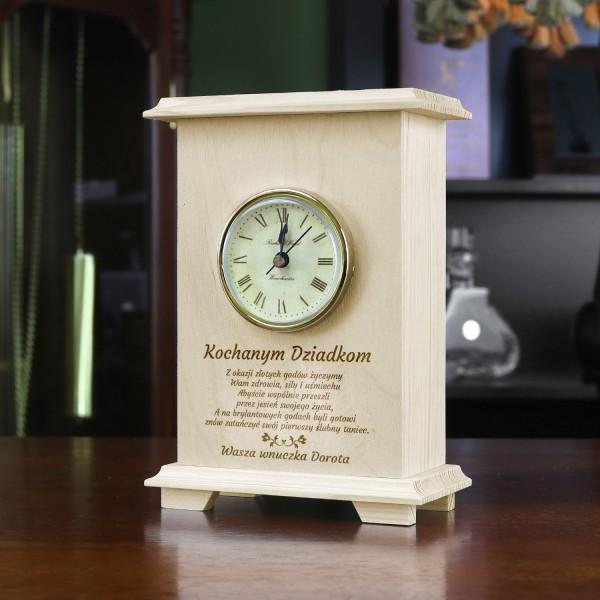 zegar drewniany szafkowy z grawerem