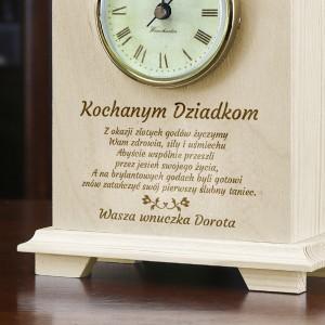 grawerowany zegar na prezent dla dziadków na rocznicę ślubu