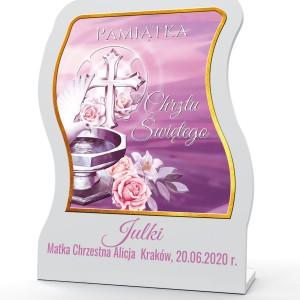 obrazek święty z dedykacją na pamiątkę chrztu dla dziewczynki