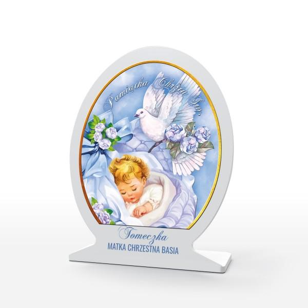 okrągły obrazek z pleksi na chrzest