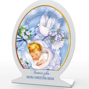 obrazek z kolorowym nadrukiem na pamiątkę chrztu dla chłopca
