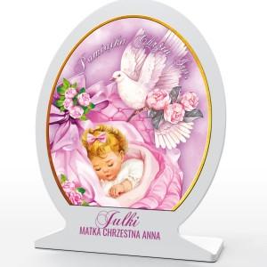 obrazek z pleksi na pamiątkę chrztu dla dziewczynki
