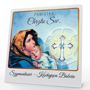 obrazek z pleksy z nadrukiem imienia dziecka na pamiątkę chrztu