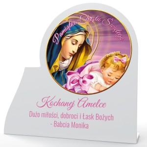 obrazek z nadrukiem na pamiątkę chrztu dla dziewczynki