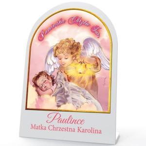 obrazek z aniołem stróżem z nadrukiem na pamiątkę chrztu