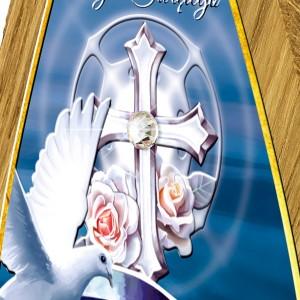 obrazek na drewnie dębowym na pamiątkę chrztu z kryształkiem