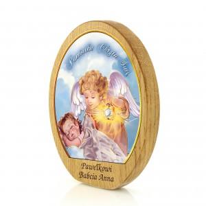 drewniany obrazek z grawerem na chrzest - nadruk w kolorze