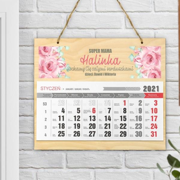 kalendarz ścienny na 2021 z nadrukiem dla mamy