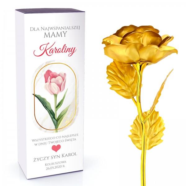 złota róża wieczna na prezent na dzień mamy