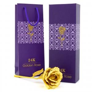 wieczna róża złota na prezent dla mamy w etui i torebce