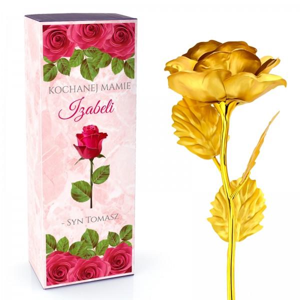 pozłacana róża na prezent dla mamy z imienną dedykacją