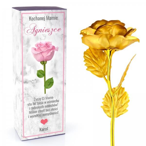 złota róża w pudełku z dedykacją