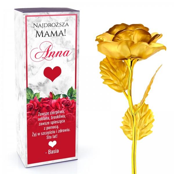 złota róża z dedykacją dla mamy