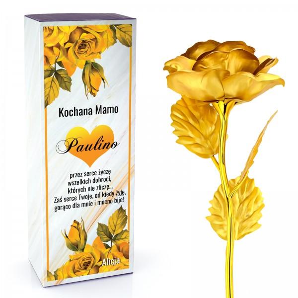 róża złota w pudełku z nadrukiem dedykacji