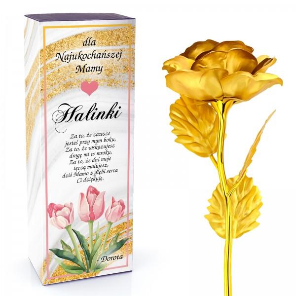 złota róża z dedykacją na prezent dla mamy