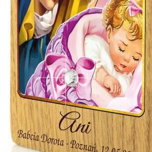 drewniany obrazek na chrzest