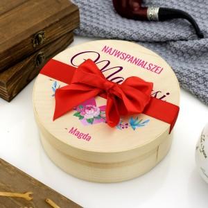 okrągłe pudełko ze słodyczami na prezent dla mamusi
