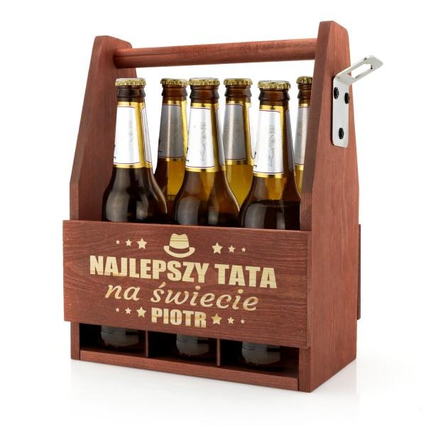 drewniana skrzynka na piwo z grawerem dla taty