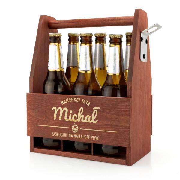 skrzynka na piwo z grawerem imienia i napisu najlepszy tata