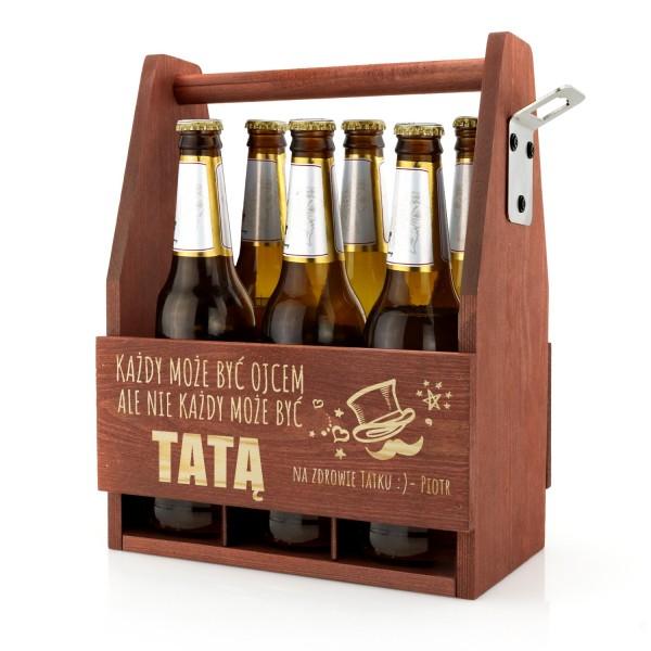 drewniana skrzynka na piwo z grawerem dedykacji na prezent dla taty