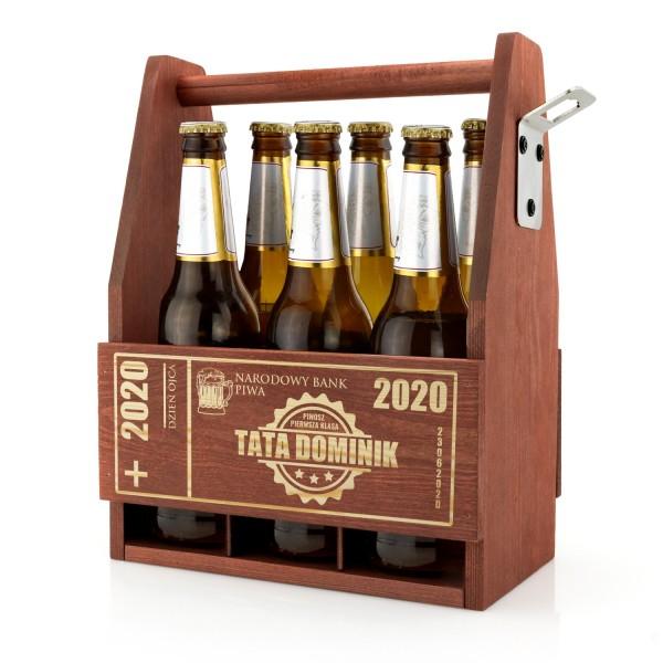 drewniana skrzynka na piwo z grawerem imienia na prezent na dzień ojca
