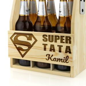 grawerowane nosidło na piwo z napisem super tata