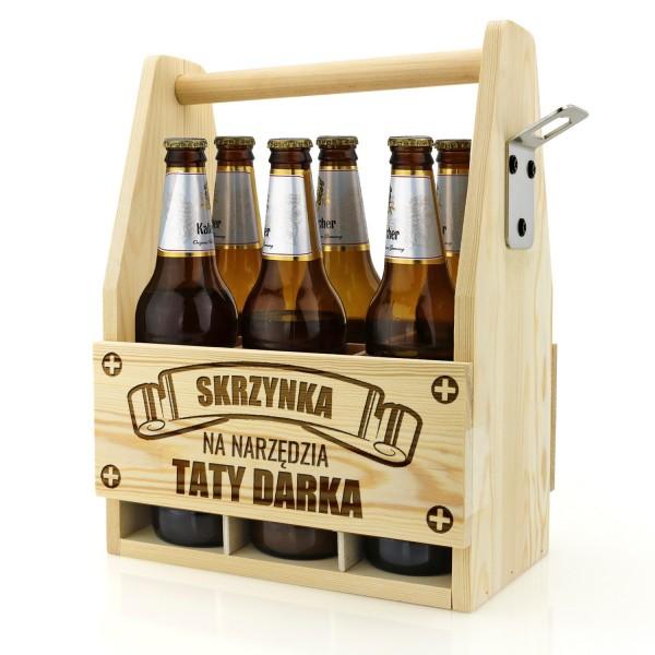 drewniana skrzynka na piwo grawerowana na prezent dla taty