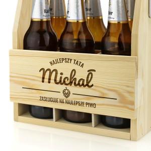 nosidło na piwo drewniane z wygrawerowanym imieniem