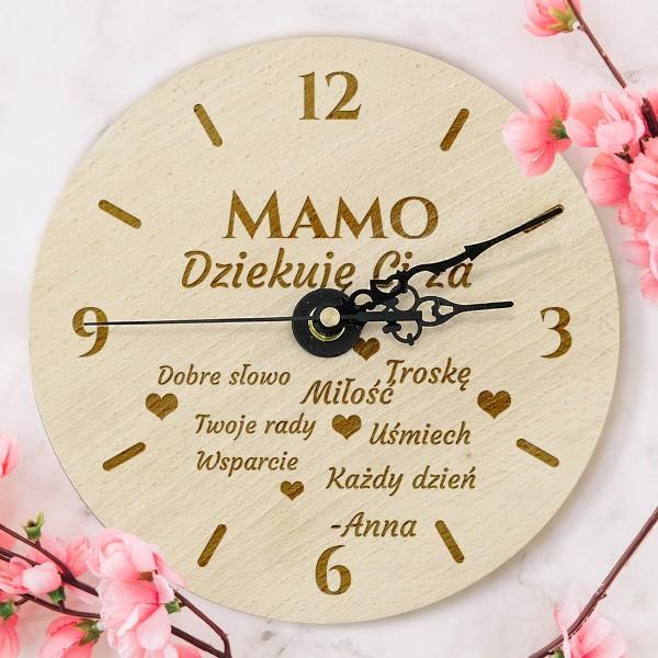 zegar drewniany na prezent dla mamy