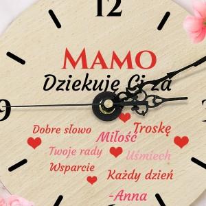 Zegar z kolorowym nadrukiem na prezent dla mamy z personalizowanym podpisem
