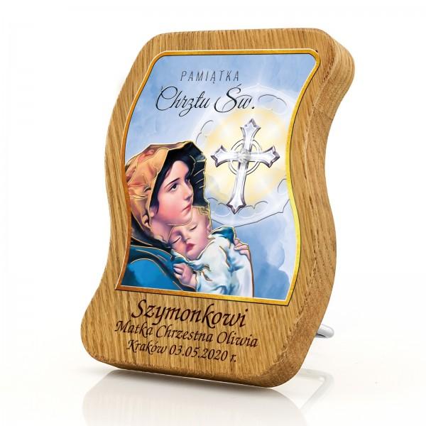 obrazek na chrzest z grawerem na drewnie dębowym