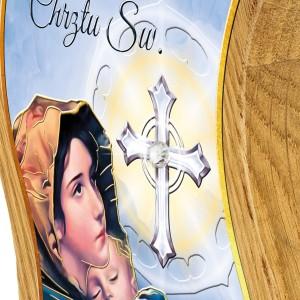 kolorowy obrazek na chrzest z grawerem na drewnie dębowym