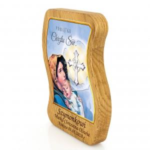 święty obrazek na chrzest z grawerem na drewnie dębowym