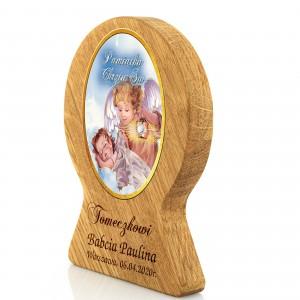 obrazek z drewna dębowego z grawerem - chrzciny