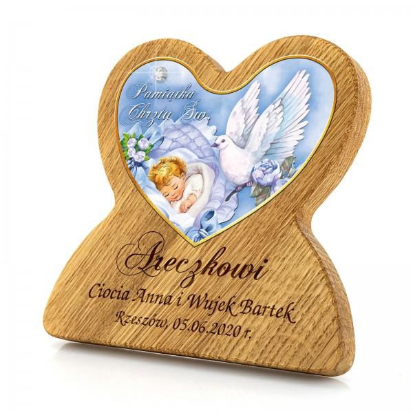 drewniany obrazek z grawerem na chrzest