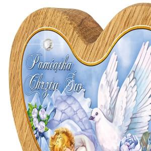drewniany obrazek z kryształkiem i z grawerem na chrzest