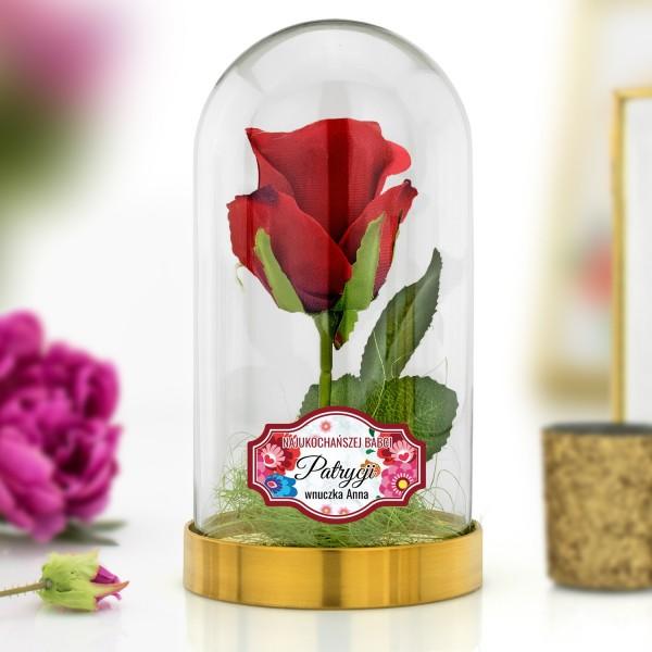 róża czerwona pod kloszem na prezent dla babci