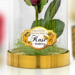 wieczna róża pod kloszem z nadrukiem dedykacji na prezent dla przyjaciółki