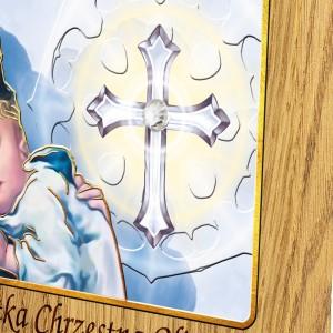 obrazek na chrzest z kryształkiem swarovskiego