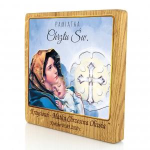 obrazek kolorowy na drewnie dębowym na chrzest