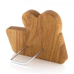 drewniana pamiątka chrztu z grawerem i podpórką