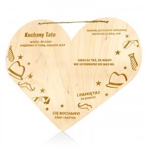 drewniana tabliczka serce z grawerem dla taty