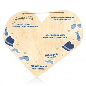 serce drewniane tabliczka z dedykacją