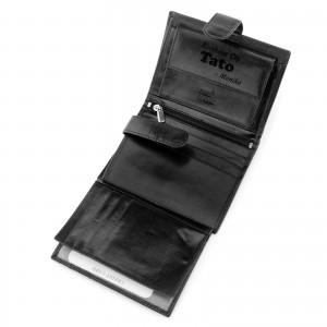 czarny portfel skórzany męski z grawerem