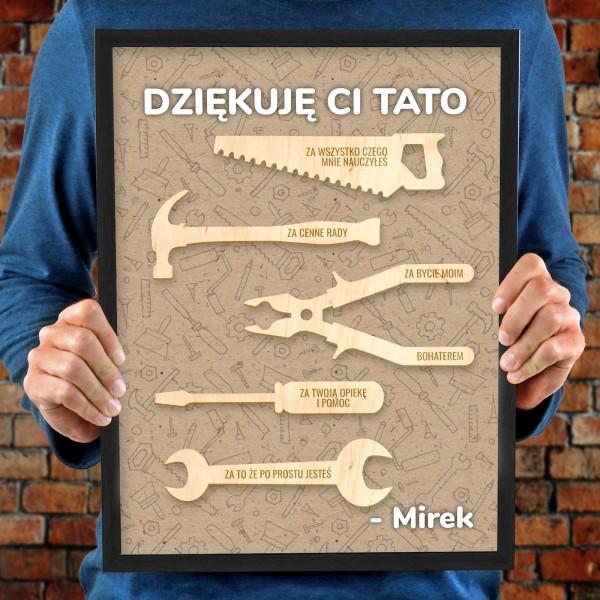 obraz z drewnianymi elementami na prezent dla taty